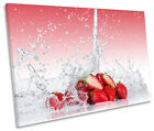 Red Strawberry Fruit Kitchen CANVAS WALL ART SINGLE Picture Print