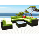 NEW 7 PCS Rattan Wicker Patio Set Outdoor Sectional Sofa Furniture with Cushion