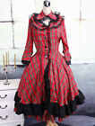 Red Plaid Cotton Stand Collar Long Sleeves Ruffles Bow Classic Lolita Dress