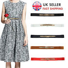 UK Fashion Ladies Cinch Waist Belt Leather Thin Skinny Elastic Stretch Waistband