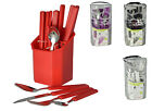 Fingey 24Pc Square Handle Plastic Handle Cutlery Set Tableware Stainless Steel