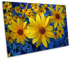 Yellow Flowers Blue Floral CANVAS WALL ART SINGLE Picture Print