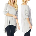 Womens Loose Fit Comfy Casual Tunic Top Scoop Neck 3/4 Sleeve Top Blouse Shirt