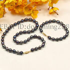 a sets AA 8-9mm whte black oval fresh water pearl necklace bracelets GZ