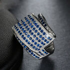 925 Silver Filled blue Sapphire Birthstone Engagement Wedding Ring size 6-10