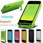 Rechargeable 4200mah Power Bank External battery Charger case For iPhone 5 5s 5c