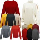 Womens Ladies Choker Rib Knit Metallic Loose Fit VNeck Jumper Sweater Top UK8-14