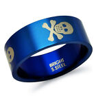 Stainless Steel Blue Plated  Skull and Crossbone Ring Band -SHJSSR113