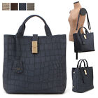 WOMEN'S HANDBAG EVERYDAY CROCO LG TOTE SHOULDER BAG PURSE REAL COWHIDE LEATHER