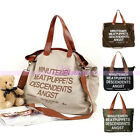 Bookbag Lady Retro Handbag Crossbody Casual Shoulder Bag Letter Style Canvas
