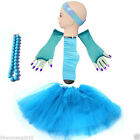 Blue 5 Set TUTU SKIRT SET gloves socks headband NECKLACE Dress up hen party