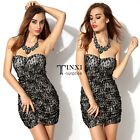 Black Strapless Sleeveless Backless Lace Pleated Dress Skirt Casual Party TXSU