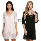 Women Ladies Casual V-Neck Medium Sleeve Lace Loose Cover Up Beach Dress TXSU