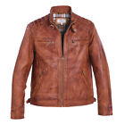 Mens / Gents Full Leather Centre Zip Jacket with Quilt Design Shoulders in Tan