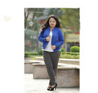 Blue Comfortable Commute Cotton Long Sleeve Large Size Women's Shirt/Dress #