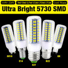 E27 E14 B22 G9 GU10 5730 SMD LED Corn Bulb Warm Cool White Lamp 110V/220V Light