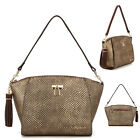 WOMENS HANDBAG SM POLY TOPZIP TOTE SHOULDER CROSS BAG PURSE REAL COWHIDE LEATHER