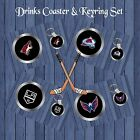 ICE HOCKEY DRINKS COASTER & KEYRING GIFT SET SECRET SANTA CHRISTMAS BIRTHDAY FAN
