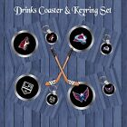 ICE HOCKEY DRINKS COASTER & KEYRING GIFT SET SECRET SANTA CHRISTMAS BIRTHDAY FAN $6.49 USD on eBay