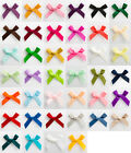 50 x 3cm Pre Tied Satin ribbon Bows & foam sticker pad Crafts Embellishment