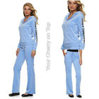 JUICY COUTURE Embellished Velour Hoodie & Pants or Joggers TrackSuit Jacket Blue