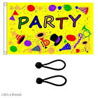 Party Time Yellow Flag 5x3ft Great OnTelescopic Poles.Comes with Free Ball Ties
