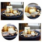 Candle Set Essence Pillar & Tea Light With Wooden Tray & Stones 2 Styles New
