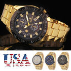 NEW Mens Black Dial Gold Stainless Steel Date Quartz Analog Sport Wrist Watch US