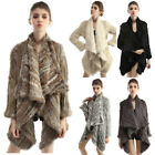 Women Real Rabbit Fur Coats Jackets Shawl Poncho Outerwear Knitted New 6 Colors