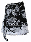 Black White Magic Indian Short Wrap Around Dress Women Beach Boho Cotton Skirt