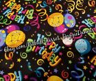 DOG BANDANA Sz XS-L Over Collar HAPPY BIRTHDAY Neon Balloon Swirl EACH DIFFERENT