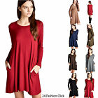 Women's Loose Fit Solid Long Sleeve Round Neck Pockets Tunic Dress Jersey S M L