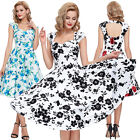 Retro Flared Pin Up Vintage 50's Evening Party Prom Swing Picnic Dress PLUS SIZE