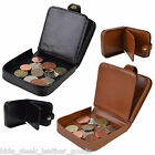 Mens Quality Square Leather Coin Tray Purse Wallet with Notes in Black /Tan