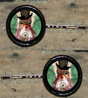 STEAMPUNK top hat goggles SQUIRREL Altered Art CUFF LINK or HAIR PIN pair Set