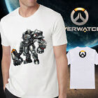 Men's new cotton Overwatch Reinhardt OW white T-shirt Crew Neck Short Sleeve tee