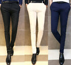 Men's Solid Slim Fit Fashion Mid Rised Casual Long Pants Soft Business Trousers