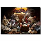 Cats Playing Poker Funny Art Poster Print Home Wall Decor