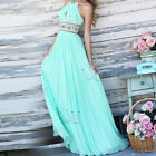 Long Chiffon Bridesmaid Formal Gown Ball Cocktail Party Light Green Prom Dress