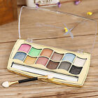 12 Color Pro Beauty Makeup Cosmetic Eyeshadow Plaette Fine Powder + Brush Set