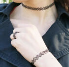 Black PVC Tattoo Necklace & Ring &Bracelet Set  On Gift Card Ideal  for Xmas
