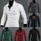 Fashion Men's Tops Slim Fit Casual T-shirts Polo Shirt Long Sleeve Cotton Tee