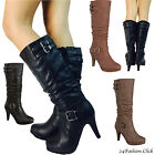 Women's fashion heel Knee high boot Buckled Zipper shoes Black Tan 5-10 PAGE-73T