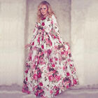 Boho Women's Floral Printed Long Sleeve Long Maxi Party Cocktail Evening Dress