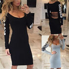 Women Sexy Long Sleeve Bodycon Evening Party Cocktail Back Striped hollow Dress