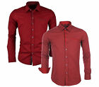 CARISMA Men's Red Cotton shirt spread collar Business Formal Casual Long sleeve