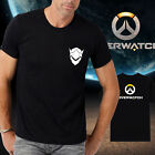 Men new cotton OW overwatch logo Genji Black Tshirt Crew Neck Short Sleeve tee