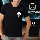 Men new cotton OW overwatch logo Reaper Black Tshirt Crew Neck Short Sleeve tee