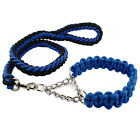 Rope Braided Big Dog Training Collars & Leashes Set for Labrador Rottweiler