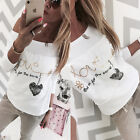 UK Womens Print Love Letter Long Sleeve Ladies Casual Tops T-Shirt Blouse